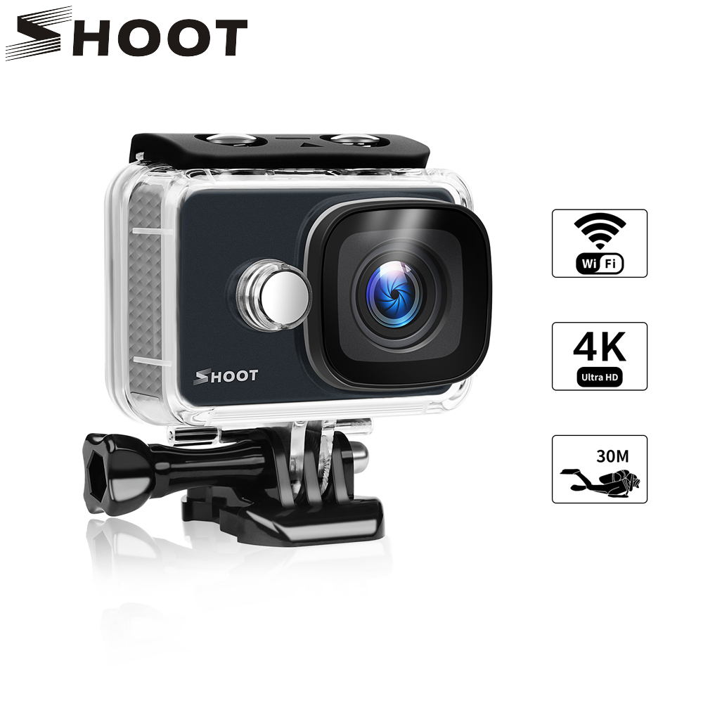 SHOOT 4K Action Camera WiFi Ultra HD 14MP 1080P/60FPS Waterproof Sport Camera with 170 Wide Angle Lens Accessory Set For Go Pro wimius 20m wifi action camera 4k sport helmet cam full hd 1080p 60fps go waterproof 30m pro gyro stabilization av out fpv camera