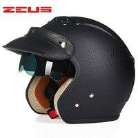 Leather Motorcycle Helmet Retro Cruiser Chopper Open Face Vintage Helmet 38176 Pilot Moto Casque Casco Motocicleta