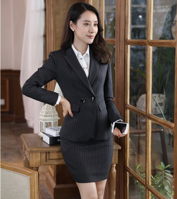 e1029ef5e2583 Formelle Noir Blazer Femmes Costumes D affaires avec la Jupe et Veste,  Ensembles de