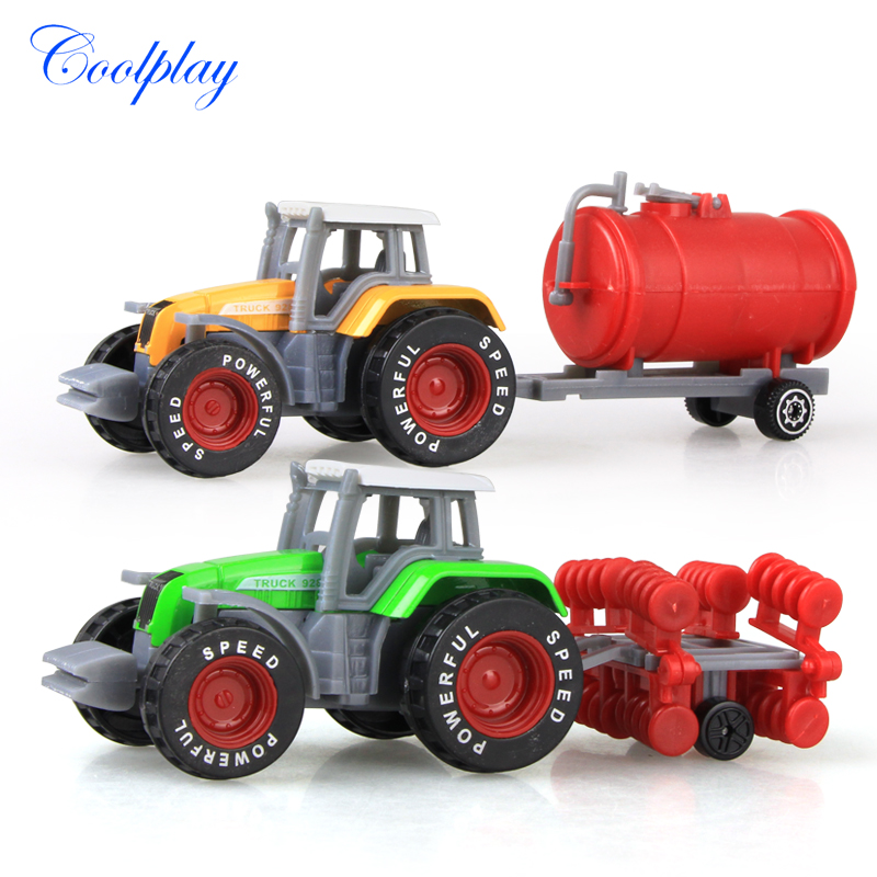 Coolplay 2PCS Alloy Engineering Car Model Farmers Truck Model Simulation Educational Toy Vehicle Car For Children {