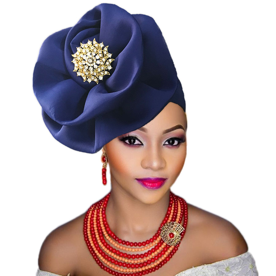 auto gele cap for women party african headtie nigeria turban headband already tied african head wraps (2)