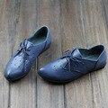 2017 de las mujeres señaló los solos zapatos planos genuinos de cuero con cordones azul transpirable confortables pisos tamaño 35-40