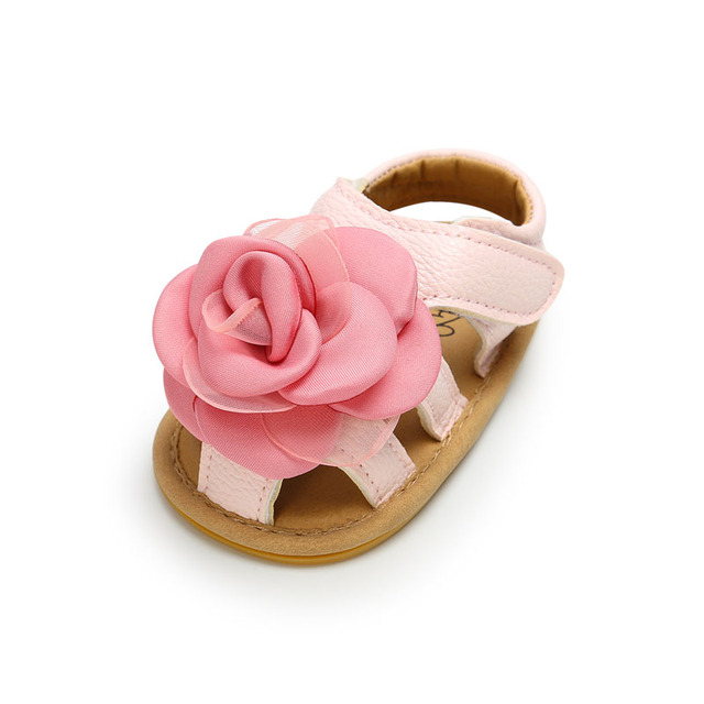 2019 Cute Flower Baby Girls Summer Sandals Infant Toddler Shoes Solid Sole Baby Girls First Step Shoes Bebe Moccasins PU Leather 1