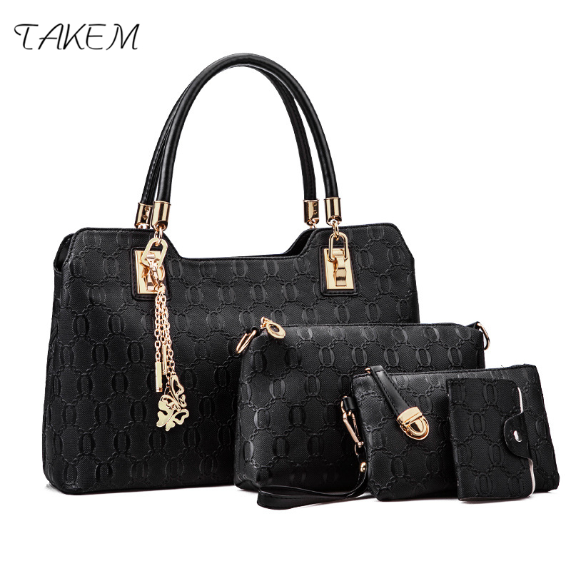 TAKEM luxury 4 pcs/set Handbags Female Tote Bag Tassel Women Solid Shoulder Bags Women Messenger Bag PU Leather Composite Bag 2018 women 3pcs set handbags pu leather shoulder bags tassel handle designer composite messenger bag casual tote bag ll408