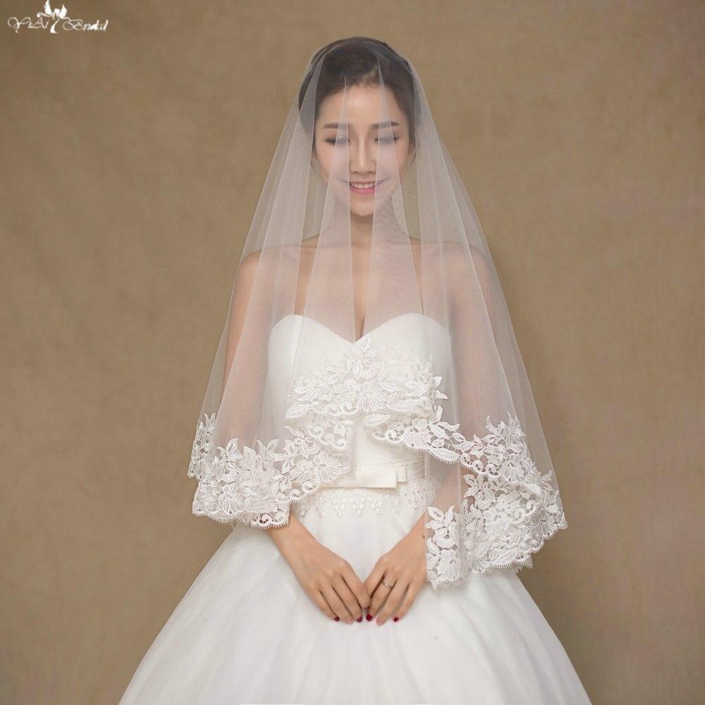 Lace Wedding Veils: LZP061 Simple Venice Veil One Layer Lace Wedding Veil Off