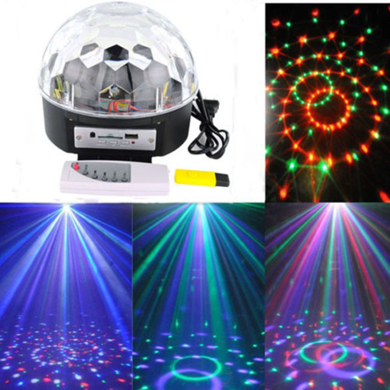 Digital RGB LED Music Crystal Magic Ball Effect Light MP3 USB Disco DJ Stage Lighting+Remote Control hot 6 3w leds voice cotrol laser stage light mp3 magic ball light ir remote digital rgb led crystal magic ball
