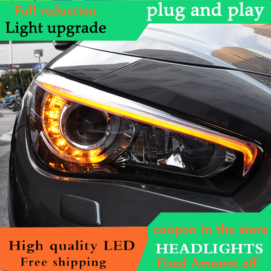 D_YL Car Styling For Infiniti Q50L headlights 2014 2018 For Q50L Full LED head lamp led DRL front Bi Xenon Lens Double Beam-in Car Light Assembly from Automobiles & Motorcycles    2