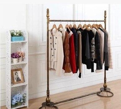 Iron Clothing Store Clothing Display Rack Shelf Golden Metal Hanger Factory  Direct Side Pylons