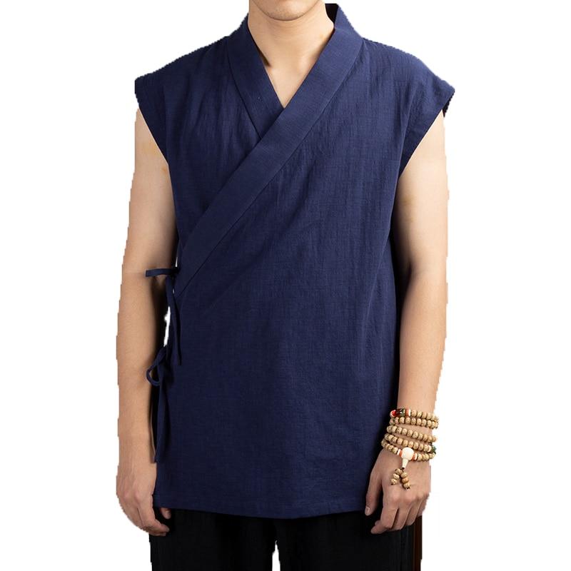 Chic Style Chinois en vrac Hommes Manteau en lin veste HANFU Casual Cardigan Tops