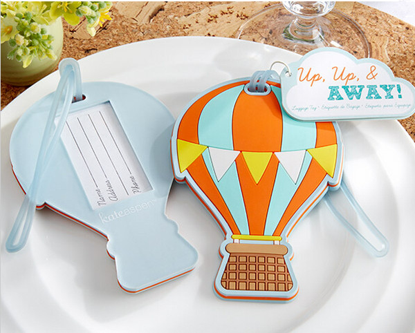 Free shipping 60pcs/lot New Wedding Favors  Up.up & Away  Hot Air Balloon Luggage Tag Rubber Luggage Tags, Party Favors