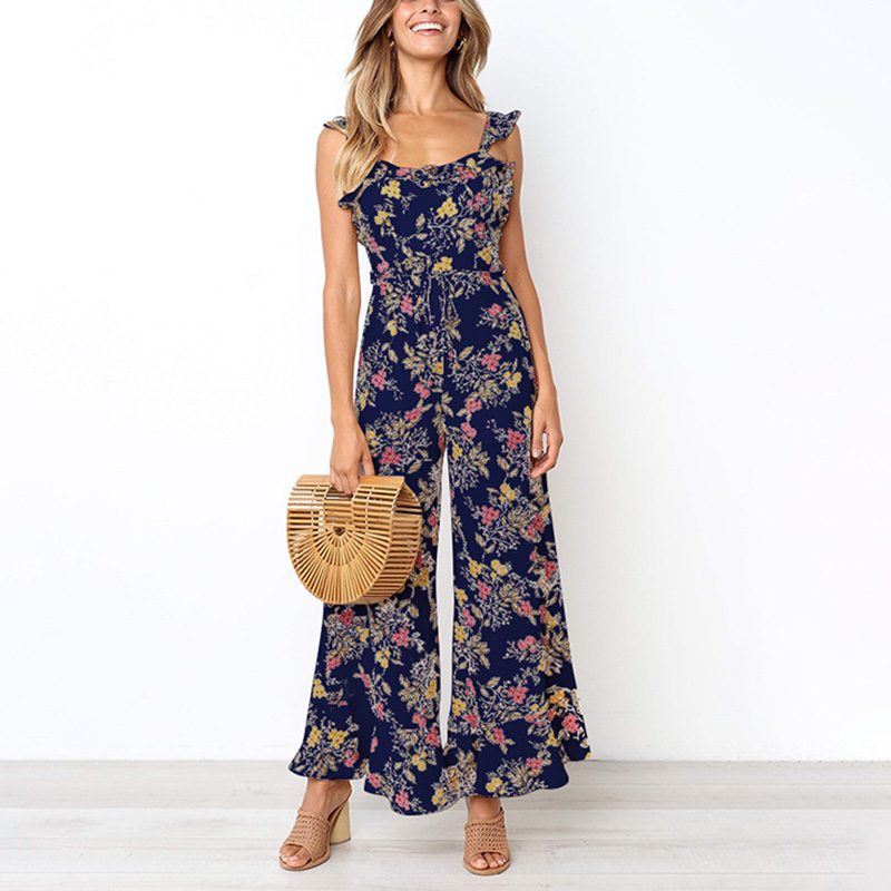 Newly Women Summer Floral   Jumpsuits   Strappy Backless Sleeveless Ruffled Loose Pants FDM