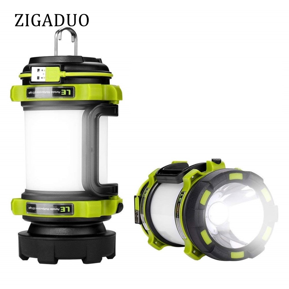 Portable LED Camping Lantern USB Rechargeable 3000mAh Power Bank Super Bright Flashlight Dimmable Spotlight Searchlight Outdoor