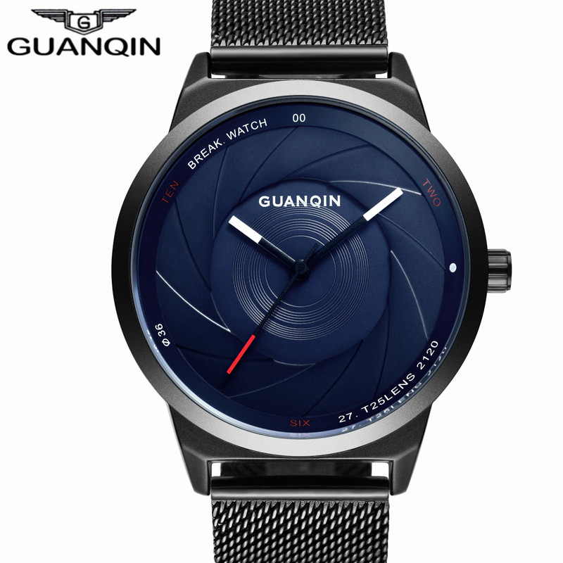 relogio masculino New GUANQIN Mens Watches Top Brand Luxury Mesh Band Quartz Watch Men Business Simple Creative Steel Wristwatch guanqin fashion mens watches male clock top brand luxury men casual wristwatch relogio masculino business wrist quartz watch new