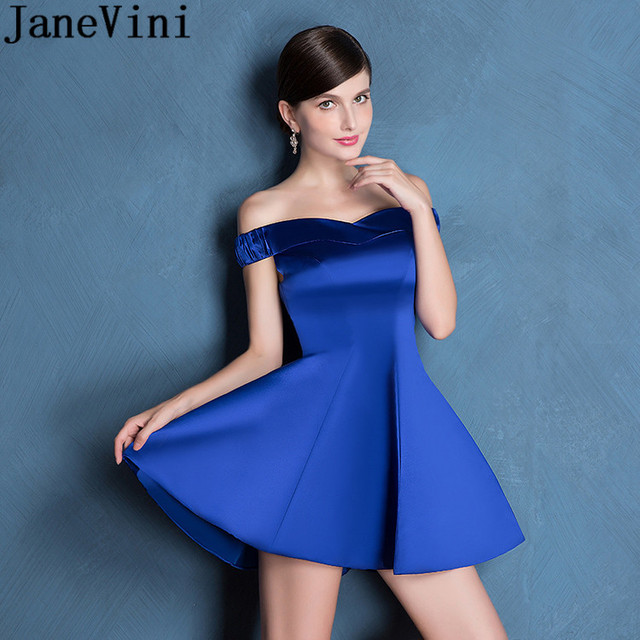 JaneVini Royal Blue Off Shoulder Homecoming Dress Satin A Line Short Mini Ladies Bridesmaid Dresses For Wedding Party Prom Gowns