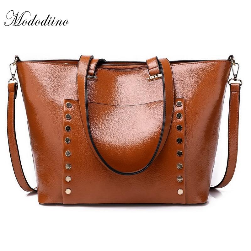 Genteel Mododiino Oil Wax Ladies Handbag Litchi Women Bag Willow Fashion Tote Bag Pu Leather Diagonal Packs Large Shoulder Bag Dnv0571 Luggage & Bags