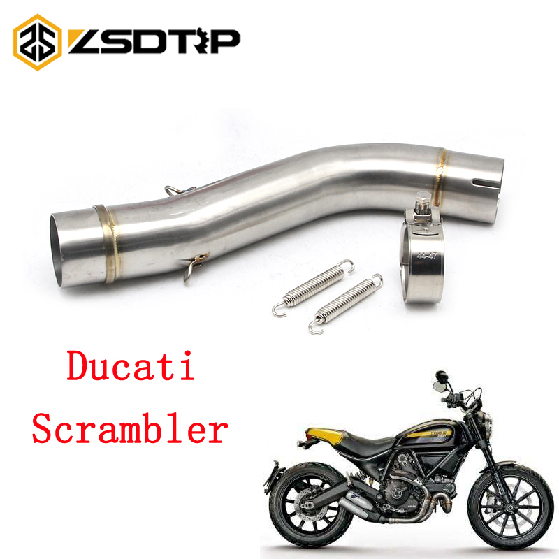 ZSDTRP For Ducati Scrambler 51mm Silencer Stainless Steel Motorcycle Exhaust Middle Link Pipe Round Muffler Moto Escape