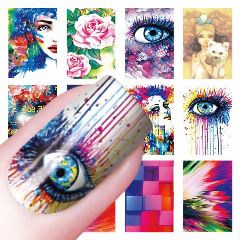 ZKO 1 Sheet Optional Flower Eyes Cartoon Designs Nail Art Sticker Water Transfer Decals Decoration For Nails zko 1 sheet nail art wrap water transfer nails sticker butterfly series water decals stickers decoration tools wraps a1297 1308