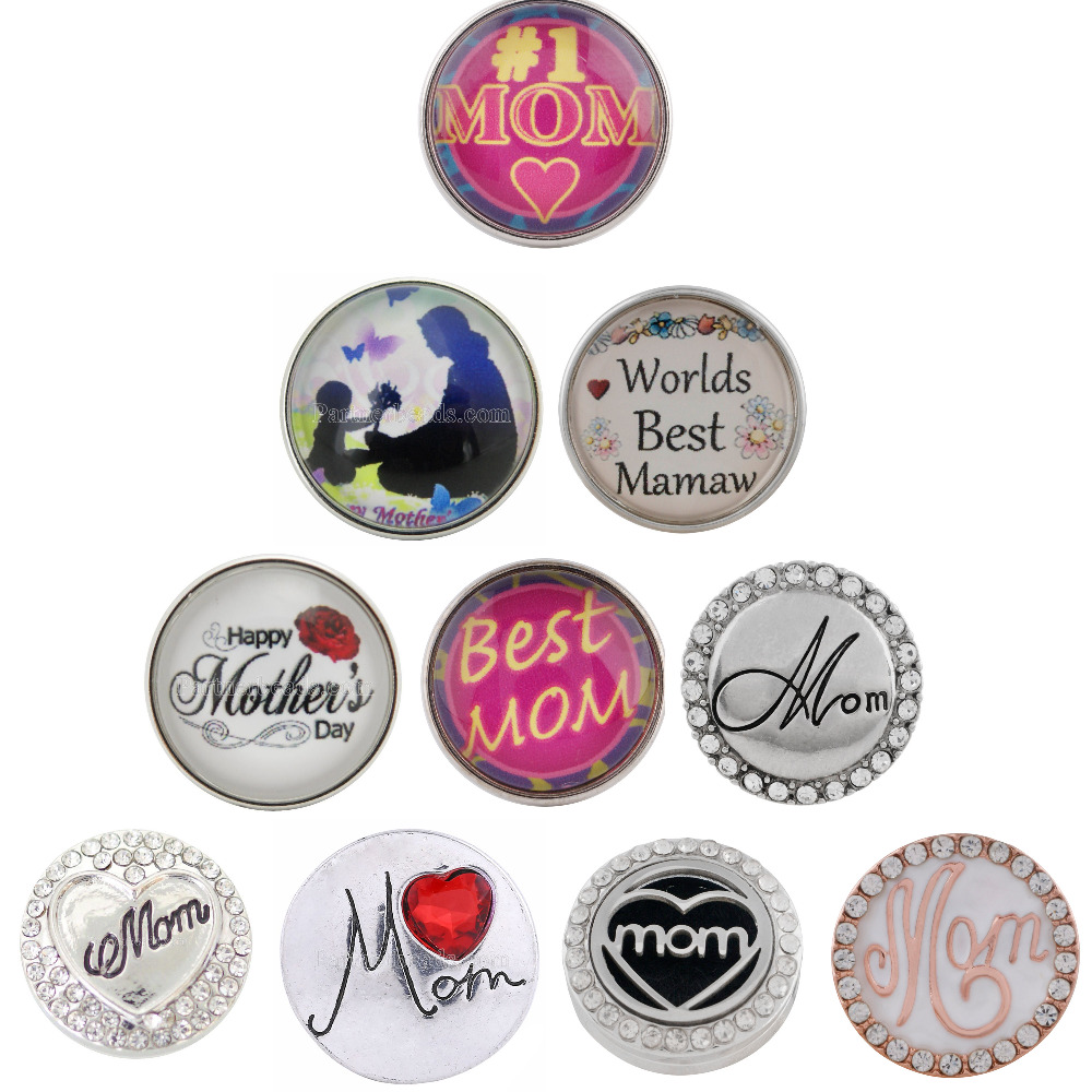 10pcs lot 2018 High Quality Multiple Styles Snap Jewelry 18mm Snaps Buttons fit Snap Bracelet for Mothers day gifts in Charm Bracelets from Jewelry Accessories
