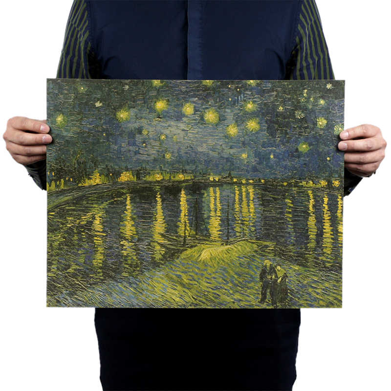 Canvas Painting Starry Night On The Rhone River By Vincent Van Gogh Famous Artist Art Print Poster Wall Picture Kraft Paper