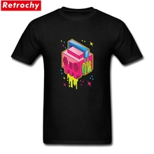 2017 Classic Cube skull Custom Shirts Men Short Sleeved Adults sugar skull shirt Tees Shirts Organic Cotton Oversize