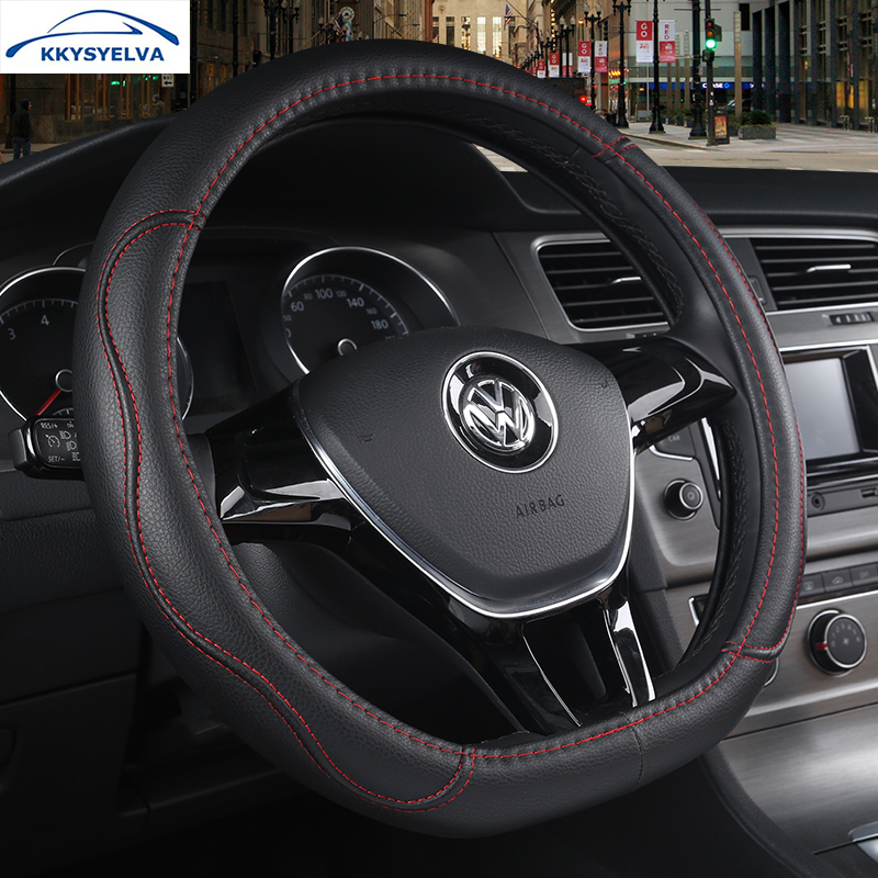 KKYSYELVA D Shape 4 Colors Leather Car Steering Wheel Cover for For VW GOLF 7 Auto wheels Covers Interior Accessories