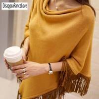 2018 Women Spring Autumn Knitted Sweater Poncho Coat Solid Elegant Pullover Jumper Irregular Tassel Hem Cape