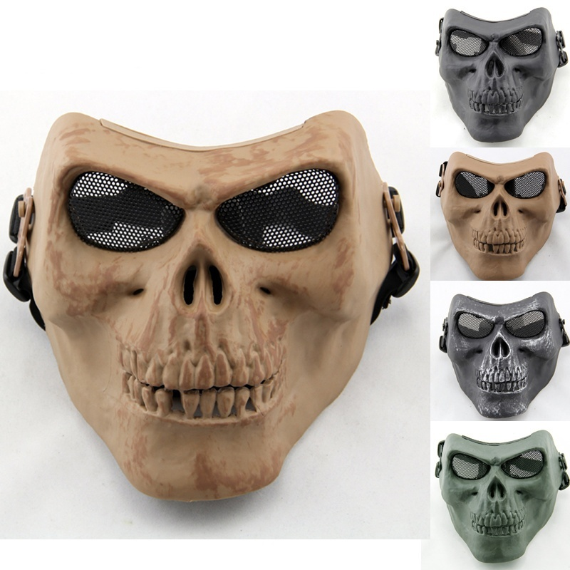 M02 Skeleton Wire Mesh Skull Military Tactical Mask Halloween Party Outdoor Wargame Paintball Airsoft Full Face Protective Mask