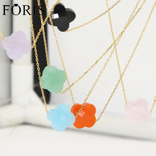 Newest Leaf Clover Yellow Gold Crystal Necklace For Girlfriend Gift 19 Kinds Of Color