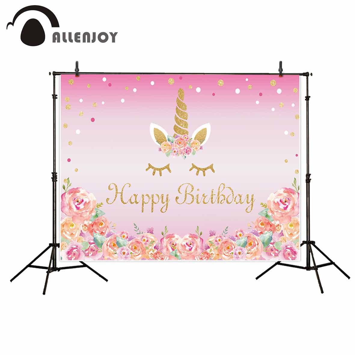 Allenjoy new photographic background Beautiful girl flower pink birthday unicorn backdrop photocall professional customize