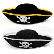 2шт дети Пиратская шляпа Хэллоуин реквизит Карибского дети платье вверх шляпа череп напечатаны шляпа с золотой или серебряной краев