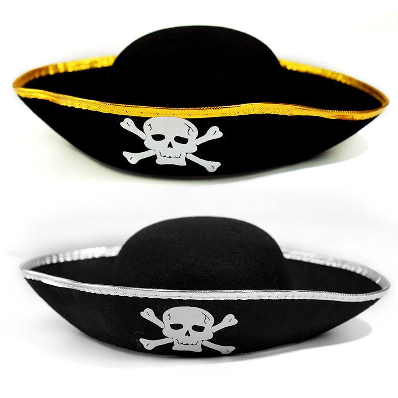 Kids Pirate Hat Halloween Props Pirates Of The Caribbean Skull Printed Hat With Golden Or Silver Brim