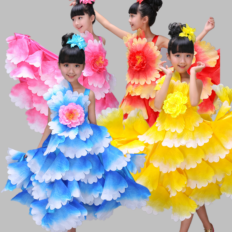 e259992b6b7a66 € 25.47 |Robes de danse du ventre de corrida espagnole de 360 degrés pour  les filles longue robe Flamenco fille jupes robe de pétale de pivoine ...