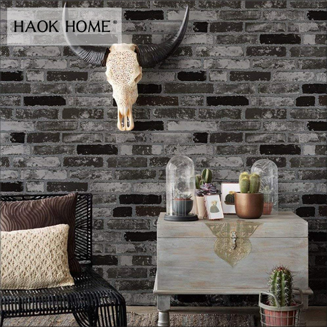 Haokhome Vintage Brick Textured Vinyl Wallpaper For Wall Rolls Grey Black Living Room Home Kitchen Bathroom Decoration