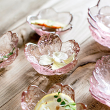 8*3cm 5pcs/set  Creative Japanese Cherry Blossom Small Plate Bowl Pink Glass Tableware Seasoning Dish Dipping Soy Sauce Disc