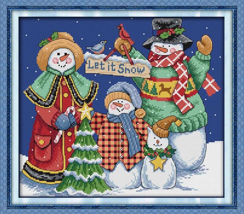 Bonhomme de neige de noël point de croix kits point de croix compté ensembles pour broderie chinois point de croix fil à broder
