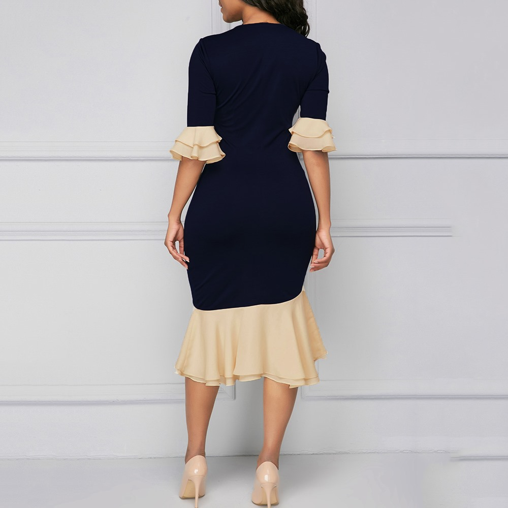 19 Summer Vintage Elegant Office Lady Women Dresses Mermaid Flare Sleeve Bow Collar Asymmetric Falbala Girls Sexy Female Dress 6
