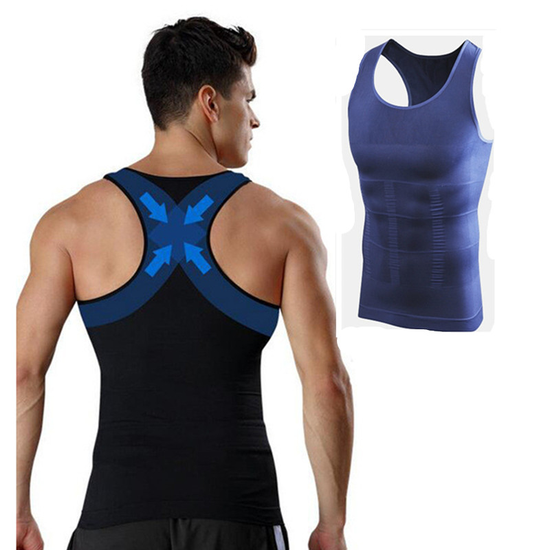 Men Gynecomastia Vest Slimming Boobs Body Shaper Control Belly Tummy Trimmer T-shirt Sleeveless Back Support Underwear Shapewear