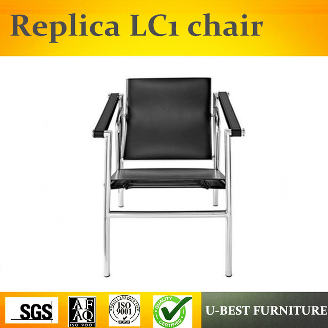 U BEST CH144 Basculant LC1 Chair, Le Corbusier Chair Leather Stainless  Steel Frame LC1