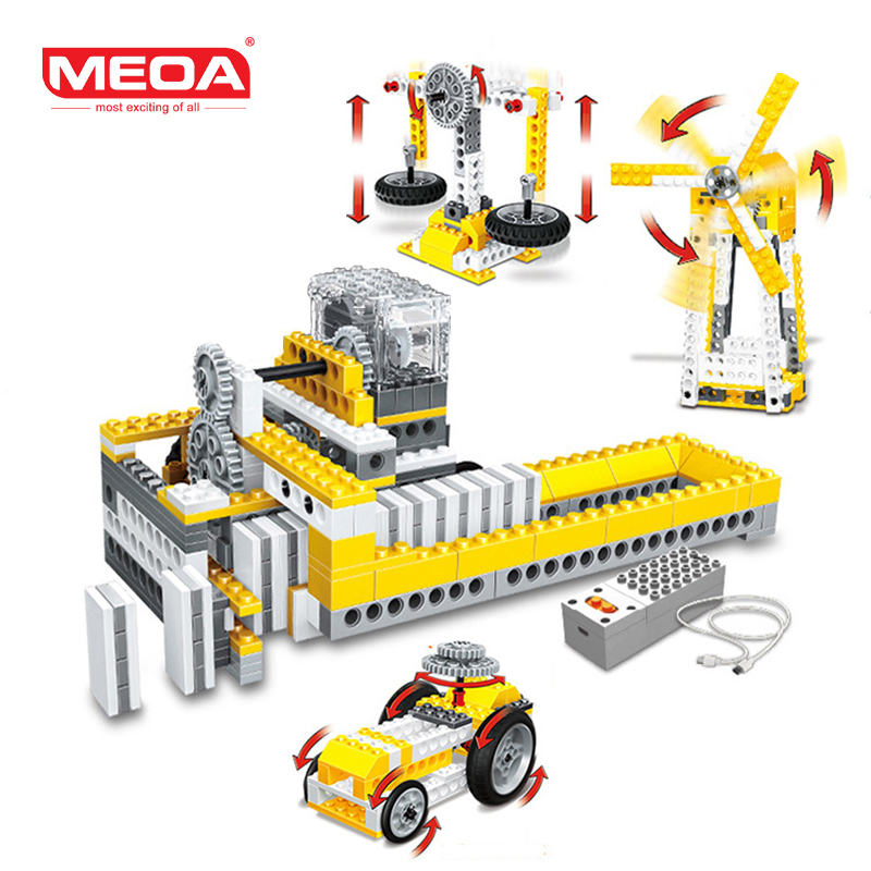 MEOA 4 IN 1 Intellectual Auto Power Domino Machinery Building Blocks Mini Bricks Compatible Legoing Kids Toys For Children Gift 2016 kids diy toys plastic building blocks toys bricks set electronic construction toys brithday gift for children 4 models in 1