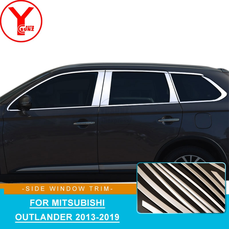 Stainless Steel car window trim strips molding For mitsubishi outlander accessories 2013 2014 2016 2017 2018 2019 styling YCSUNZStainless Steel car window trim strips molding For mitsubishi outlander accessories 2013 2014 2016 2017 2018 2019 styling YCSUNZ