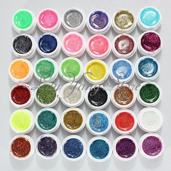 36Pcs Glitter Mix Color UV Builder Gel Polish Acrylic Set for Nail Art Tips DIY dn2 39 mix 2 3mm solvent resistant neon diamond shape glitter for nail polish acrylic polish and diy supplies1pack 50g