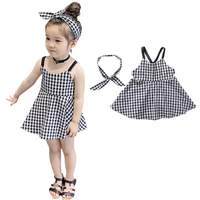 Summer White And Black Striped Princess Jumper Girls Suspender Vest Dress Hairband Kid 2 Pcs Set