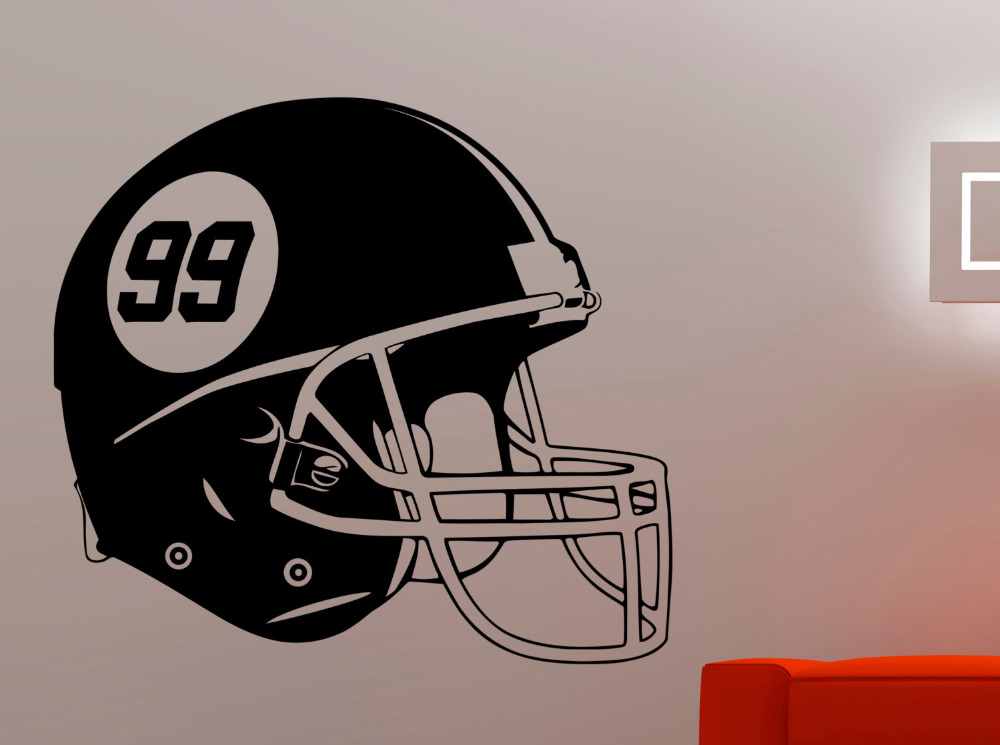 Football Helmet Wall Decal Vinyl Sticker Sports Art Home Interior Decorations Kids Boys Room Bedroom Gym Studio Decor A155