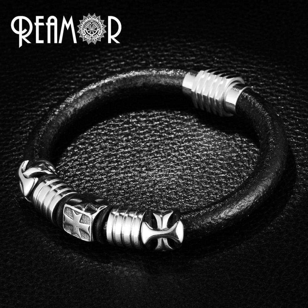 Pulsera de cuerda de cuero negro estilo Punk REAMOR hombres 316l Acero inoxidable pulseras y brazaletes cruzados con cierre magnético joyería masculina