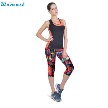 Womail Jogging Yoga Running Pants Gifts Woman Sports High Waist Fitness Yoga Sport Pants Printed Stretch Cropped Leggings 1PC 1