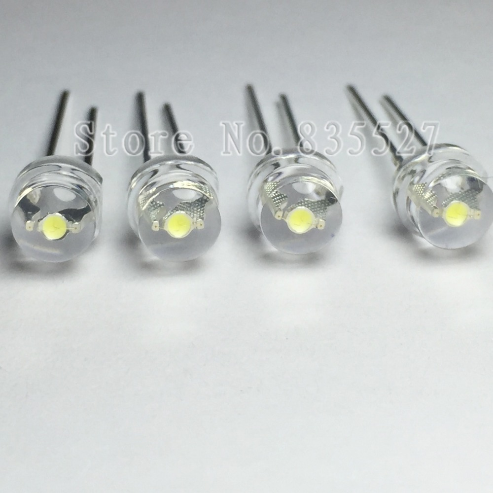 100pcs/lot 5MM F5 White 1600 - 2000MCD Straw Hat LED Lamp Beads Super Bright LED Light-emitting Diodes (leds) For DIY Lights