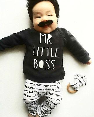 Newborn Infant Baby Boys Cute Moustache letter Clothes long sleeve o-neck black T-shirt Tops+ Pants Outfits 2pcs Set 0-18M