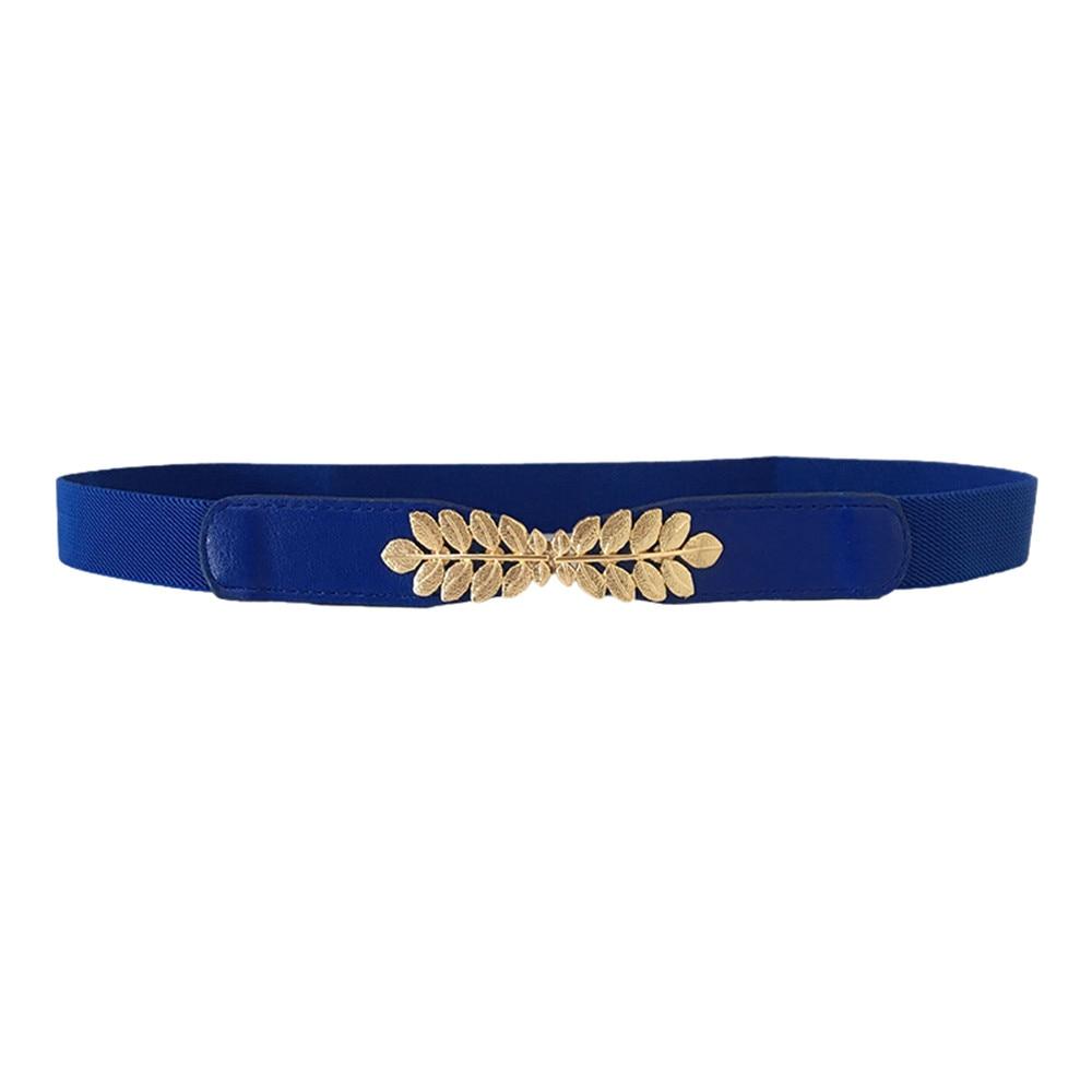Ladies Slim Fashion Waist   Belt   Access Thin Shiny Leather Women Matching fashion Leaf elastic stretch wild women's wide   belt