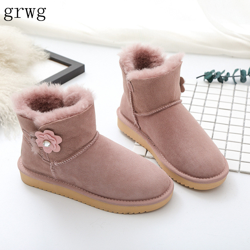 grwg Hot Sale Top Quality Women Genuine sheepskin leather Snow Boots 100% Natural Fur snow boots Warm winter shoes Ankle Boots 2016 hot sale women australia snow boots fashion ankle boots 100
