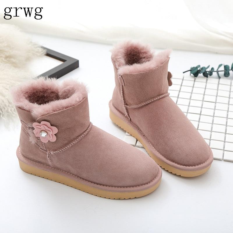 купить grwg Hot Sale Top Quality Women Genuine sheepskin leather Snow Boots 100% Natural Fur snow boots Warm winter shoes Ankle Boots онлайн